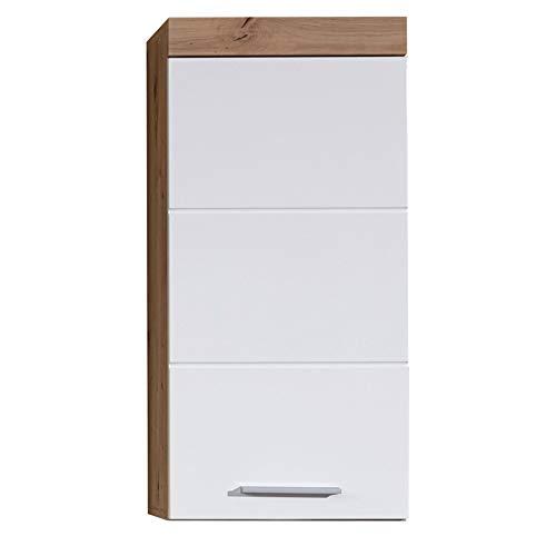 trendteam Badezimmer Hängeschrank Wandschrank Amanda, 37 x 77 x 23 cm in Asteiche / Weiß Hochglänzend mit viel Stauraum