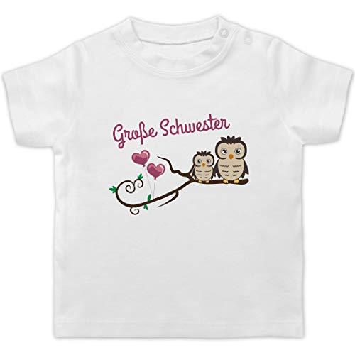 Geschwister Bruder und Schwester - Große Schwester süße Eulen - 12/18 Monate - Weiß - Grosse Schwester t Shirt - BZ02 - Baby T-Shirt Kurzarm