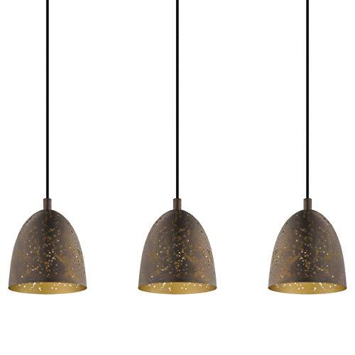 Preisvergleich Produktbild EGLO Pendellampe Safi,  3 flammige Vintage Pendelleuchte im Industrial Design,  Retro Hängelampe aus Stahl,  Farbe: Braun,  gold,  Fassung: E27