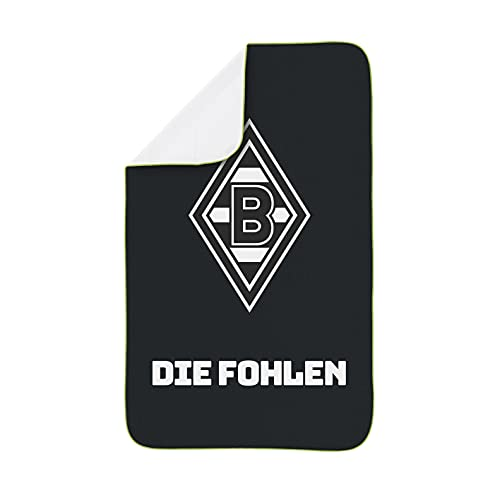 Borussia Mönchengladbach Sporthandtuch Deluxe | Besonders saugfähiges Mikrofaser-Material mit geketteltem Rand | Inklusive Mesh-Bag zum Transportieren | 80x130 cm [schwarz/weiß/grün]