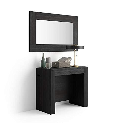 Mobili Fiver, Mesa Consola Extensible con Porta-Extensiones, Easy, Color Madera Negra, Aglomerado y Melamina/Aluminio, Made in Italy
