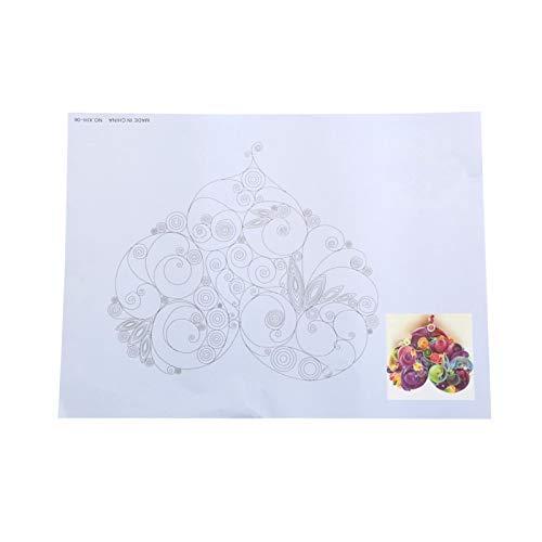 8 piezas de papel de localización de dibujo de liberación de bricolaje de 16 patrones, juego de decoración artesanal de herramientas de quilling, localización de quilling, papel de línea de quilling