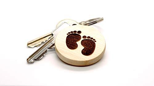 JaRo Babyfuß Kinderfüße Schlüsselanhänger rund aus Holz Gravur, wahlweise personalisiert mit Namen und Datum, Unisex Accessoire Geschenkidee Geschenk Glücksbringer Weihnachten Geburtstag (mit Gravur)