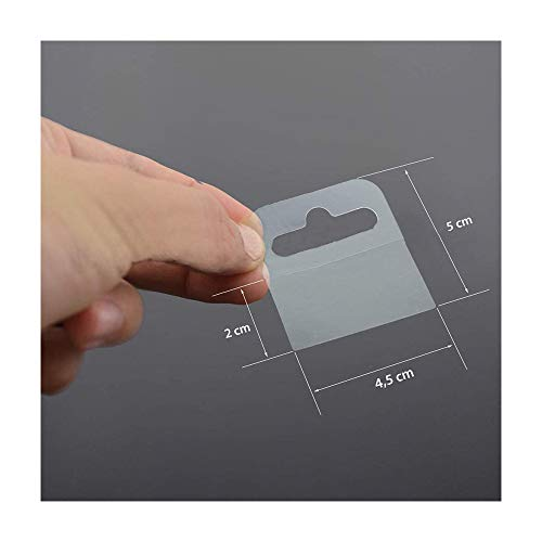 Euro Hole Hang tabs self-Adhesive 50 x 46 mm, self Adhesive Flexible Transparent Hooks Hanger with Euro Hole, 120 Pcs