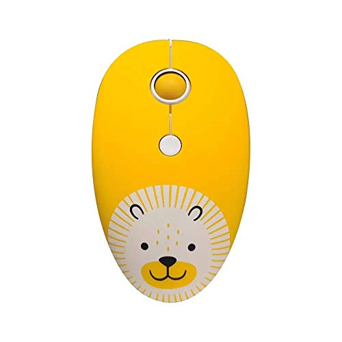 Wireless Cute Kids 'Lion' Mouse - USB Receiver for PC Laptop MacBook Chromebook Gaming Travel 2.4GHz Kids Gift Stocking Stuffer White Elephant Girls Boys Yellow