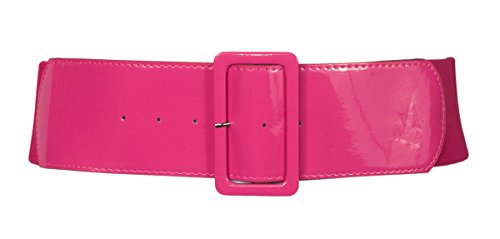 eVogues Women's Wide Patent Leather Fashion Belt Pink - One Size Junior