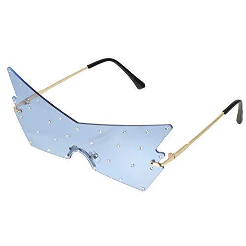 Amosfun 1 Paar Blaue Unregelmäßige Sonnenbrille Schmetterling Brille Strass Brille Party Brille Fotokabine Frauen Männer Selfie Sonnenbrille Requisiten