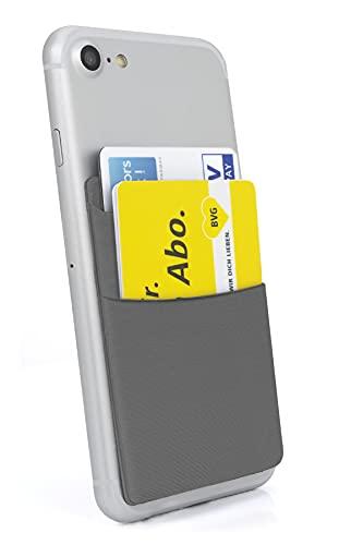 MyGadget Porta Tarjetas de Crédito Adhesiva con 2 Bolsillo para Móvil - Tarjetero Adhesivo Universal - Funda Cartera Elastica con Bloqueo RFID - Gris