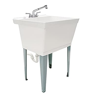 LDR 040 6000 Complete 19-Gallon Laundry Utility Tub with Pull-Out Faucet