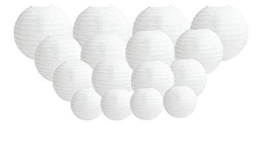 16 stuks grote papieren lantaarns, ronde witte papieren lantaarns met draadstrepen, lampenkappen in verschillende maten, 12