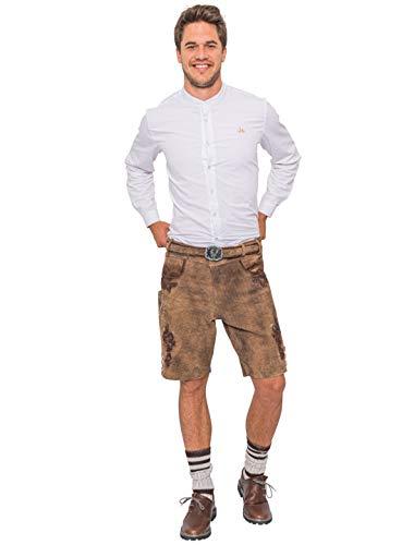 Deiters Trachten Lederhose kurz Dunkelbraun für Herren, Trachtenhose Ottfried mit Gürtel für das Oktoberfest Größe: XL