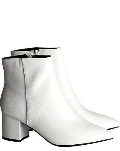 BAMBOO Womens Low Chunky Heel Bootie,White,7