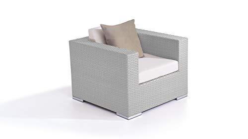 talfa Polyrattan Lounge Sessel in Grau satiniert - Cube Sessel 90 cm