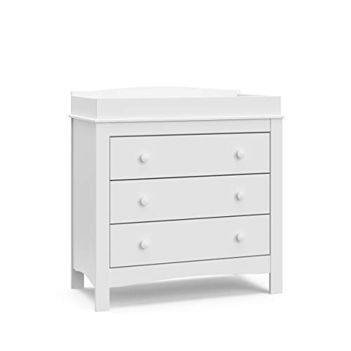 Graco Noah 3 Drawer Chest with Changing Topper (White) - Nursery Dresser with Changing Top, Changing Table Dresser, Nursery Chest of Drawers, Fits Standard Size Baby Changing Pad