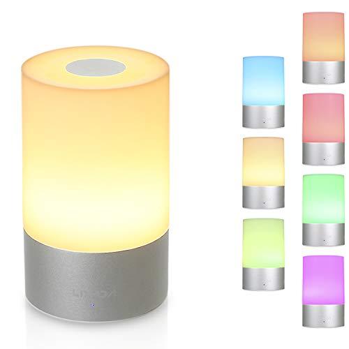 Smart Nachttischlampe, Lixada Stimmungslicht mit 256 RGB Farbwechsel, Dimmbar Tischlampe, Tischleuchte LED Touch, Stimmungsvolle Nachtlicht mit 3 Helligkeiten für Kinderzimmer