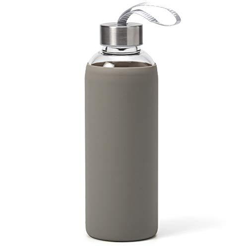 EZOWare Botella de Agua de Cristal, 550ml Sport Botella Reutilizable de Vidro Borosilicato con Funda Siliconia y Tapa de Acero Inoxidable - Gris