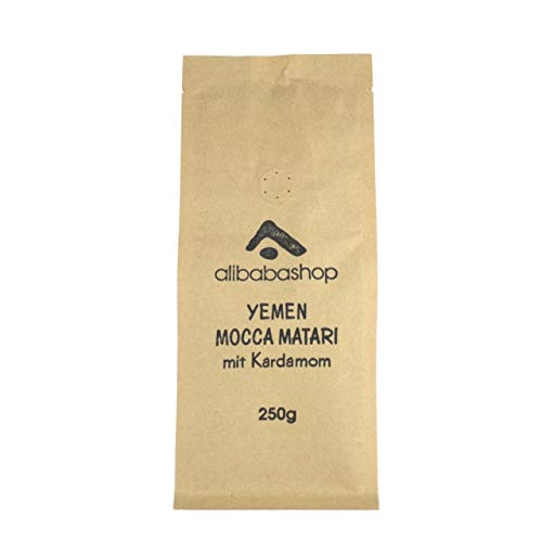 Alibabashop - Mokka Matari Yemen mit Kardamom - Aromatisierter Mokka Kaffee aus dem Jemen im 250 g Membranbeutel