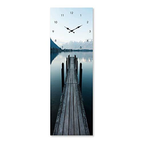 Cuadro de Cristal Templado con Reloj Azul nórdico para salón de 20 x 60 cm...