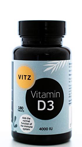 Vitamin D 4000 IU - 180 High Strength Easy-Swallow Vegetarian Vitamin D3 Tablets