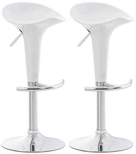 CLP Set 2 Sgabelli Design Saddle in Plastica I Coppia Sgabelli Cucina con Poggiapiedi I Sedie Regolabili Alt 60-81 CM, Colore:Bianco
