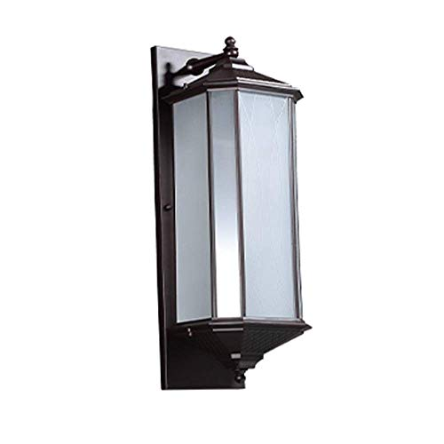 JJZXD Outdoor Wall Light Fixtures Black Roman Exterior Wall Lantern Waterproof Sconce Porch Lights Wall Mount with Water Glass Shade for House