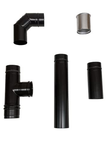 Juego de conexión para estufa de pellets (100 mm, acero inoxidable), color negro mate