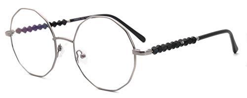 FERAVIA Piloto Irregular Eyeglasses Non-prescription multilaterales ball decoration temple women fake glasses