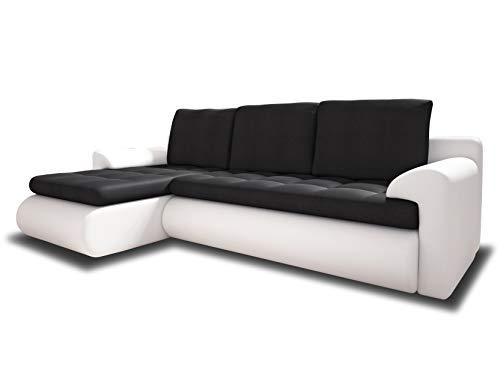 Ecksofa Santi II mit schmutzabweisender Stoff - Couchgarnitur mit Schlaffunktion und Bettkasten, Couch, Polsterecke, Schlafsofa, Sofagarnitur (Weiß + Graphit (Madryt 120 + Trinity 15), Ecksofa Links)