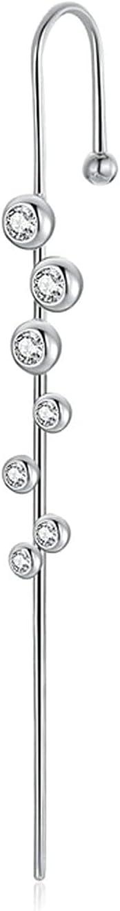 X&Z-XAOY Ear Wrap Crawler Hook Earrings,1Pcs Ear Cuffs Crawler Earrings, Long Hook Earring Pircings for Women,Hypoallergenic