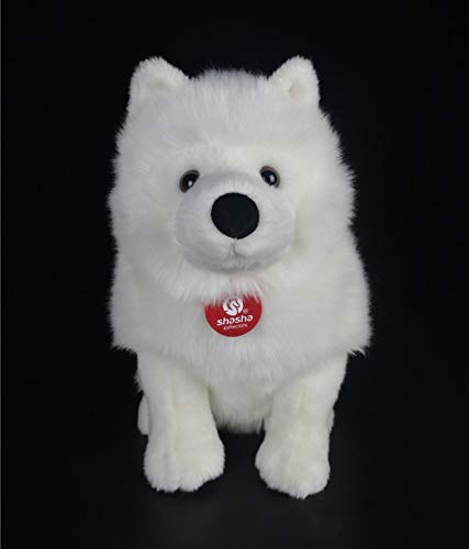 xingyao Juguete de Peluche 28cm Realista Juguetes Rellenos Simulación Linda Perro Blanco Juguete de Peluche Cachorro Animales de Peluche Juguete Cumpleaños