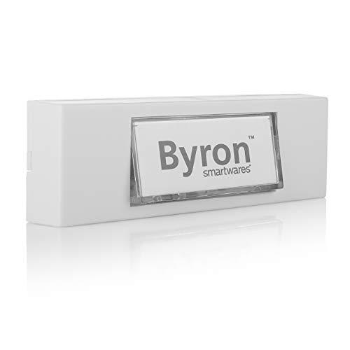 Byron 7750 Verdrahteter Universal-Klingeltaster in weiß mit beschreibbarem Namensschild, 12 V