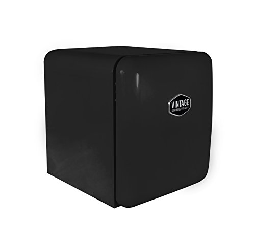 Vintage Industries ~ Mini Retro-Kühlschrank Miami 2018 in schwarz | Mini-Bar 50er Jahre Look | Größe: 50cm & 48l Volumen | höhenverstellbarer Tisch-Kühlschrank mit manueller Temperatureinstellung