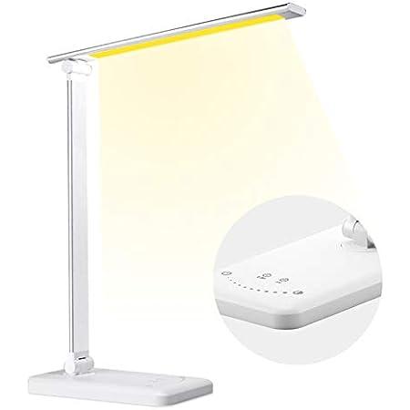 Lampe de Bureau LED, Lampe de Table avec 5 Couleurs et 10 Niveaux de Luminosité, Charge USB, Fonction Minuterie et Mémoire, Lampe de Chevet LED Tactile Protection des Yeux pour Lecture Travail