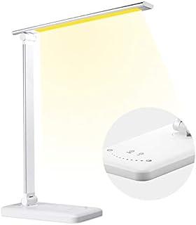 Lampe de Bureau LED, Lampe de Table avec 5 Couleurs et 10 Niveaux de Luminosité, Charge USB, Fonction Minuterie et Mémoir...