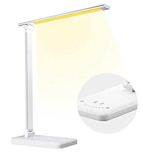 Lámpara Escritorio LED, Lamparas de Mesa con 10 Niveles de Brillo y 5 Modos, Puerto de Carga USB, Lampara Recargable, Control Táctil, Función de Memoria, Protege los Ojos Desk Lamp, Blanco