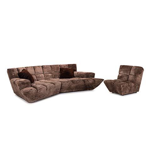 Bretz Cloud 7 Velvet Fabric Sofa Set Brown 1x Corner Sofa 1x Armchair