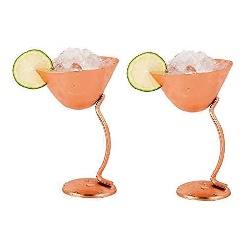 Copa de vino de 2 piezas, 304 acero inoxidable de un mango curvado de acero inoxidable Copa de cóctel, copa de vino creativa personalizada, copa de vino tinto chapado en cobre brillante