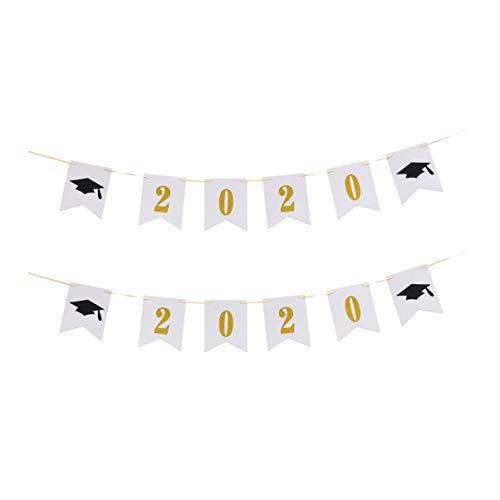 Amosfun Banner de Graduación 2020 Decoraciones de Sombrero de Graduación Guirnalda Empavesado de Papel Bandera Accesorios de Foto Suministros de Fiesta de Graduación 2 Juegos