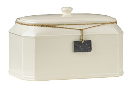 Premier Housewares Slate Tag Bread Crock, Cream, 14 x 8 x 8