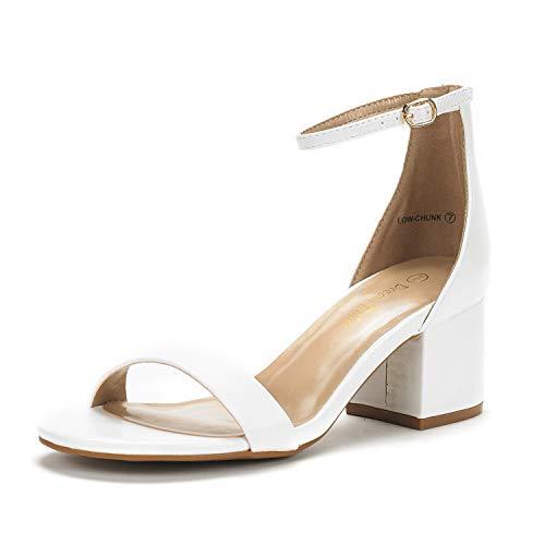 DREAM PAIRS Women's Low-Chunk White Pu Low Heel Pump Sandals - 6 M US