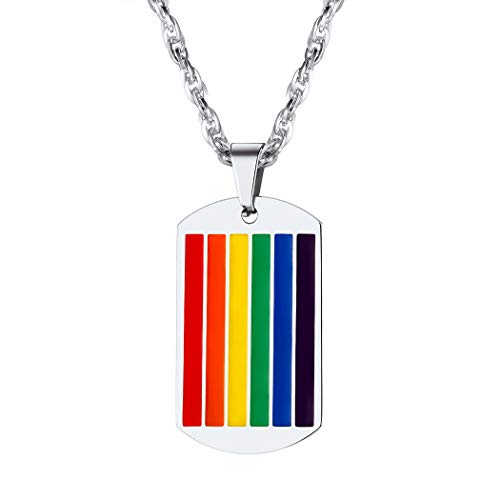 Suplight Gay Rainbow Dog Tag Necklace Nonbinary Trans Pride Jewelry Stainless Steel Enamel Lesbian LGBT Rainbow Flag Bisexual Pride Necklace for Men Women Teens