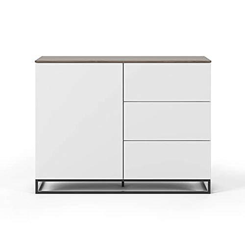 Buffets Design et élégants, Collection Join, signée TEMAHOME. - Join 120H2, piétement Acier Noir, Blanc Mat, Plateau en Noyer