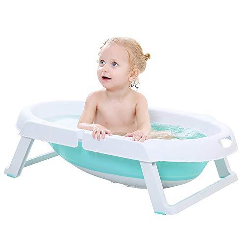 Smart panda Bañera de bebé Plegable para niños - Bañera Plegable 2 en 1 para niños pequeños, Lavabo de Ducha para niños y niñas para bebés de 0 a 12 Meses, Blue