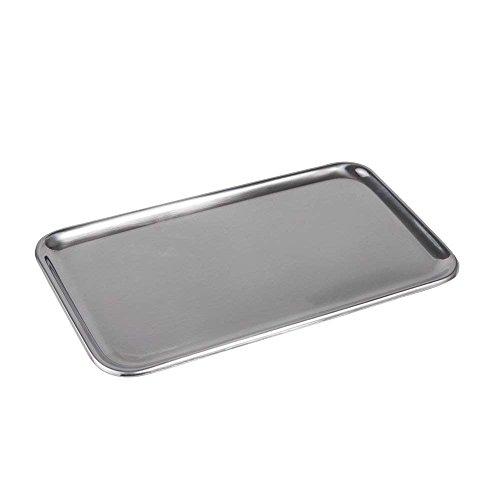 IMEEA Kleine Rechteckig Serviertablett für Küche Badezimmer SUS304 Edelstahl (8 x 4,5 inch) (Silber)