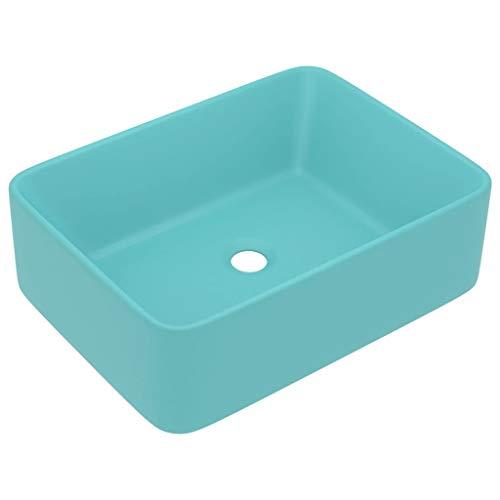 vidaXL Luxus Waschbecken mit Abflussloch Waschtisch Aufsatzwaschbecken Waschplatz Handwaschbecken Aufsatzwaschtisch Matt Hellgrün 41x30x12cm Keramik