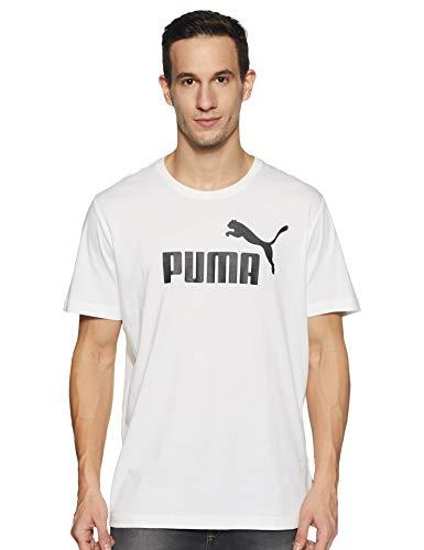 PUMA Puma Herren T-Shirt Essentials Tee – Casual Baumwoll-Shirt mit geripptem Rundhals-Kragen und Puma-Logo Essentials Tee Puma White 5XL