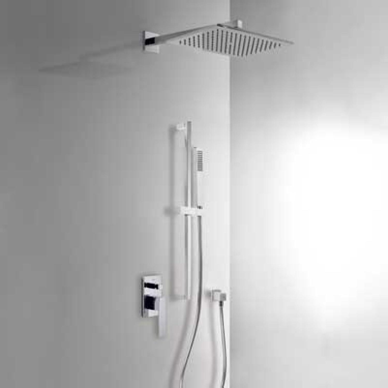 Drei Wasserhhne 20218007–Einbauleuchten Dusche-Mischbatterie-Set mit Verschluss und Flow Control. · Krper Einbauleuchte auch · Dusche Feste 320x 220mm (299.632.02). · SlideBar lang. 900mm (1.34.520). · Ellenbogen Auslass Wand (91.06.182). · Dusche Mobile