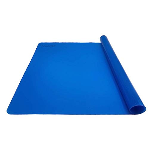 LONGFITE Silicone Baking Mat for Dough Rolling Pastry Fondant Mat Large Nonstick and Nonskid Heat Resistent, Countertop Protector, Dining Table Mat and Placemat 20'' by 16'' (Large Size, Blue)