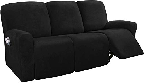 LINFKY 8-Pieces Stretch Velvet Recliner Sofa Cover Reclining Couch Covers for 3 Seater Couch Furniture Covers for Recliner with Side Pocket, Soft Thick Form Fitted (Black)