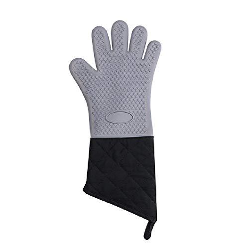 UNJ Guantes de cocina de silicona profesionales resistentes al calor, guantes de horno de seguridad alimentaria, mango antideslizante de textura suave, forro resistente al calor